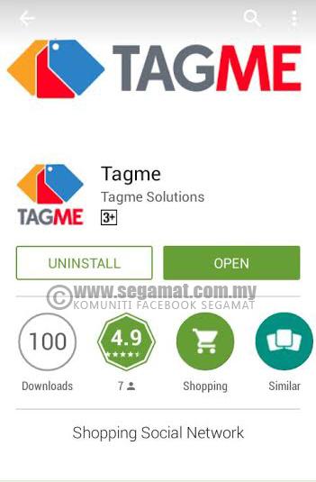 Aplikasi Tagme boleh dimuat turun melalui Google Play