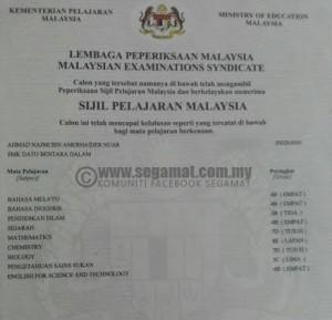 Sijil SPM Najmi yang gagal dalam beberapa subjek termasuk Matematik Tambahan yang tidak tercatit dalam sijil