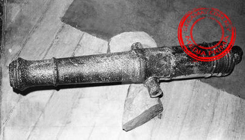 Meriam yang dijumpai di Masjid Lubok Batu pada bulan Mac 1979 | Gambar oleh: Media Prima